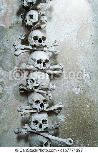 Skulls and bones in the bone chapel in Kutna Hora, Czech Republic  - csp7771397