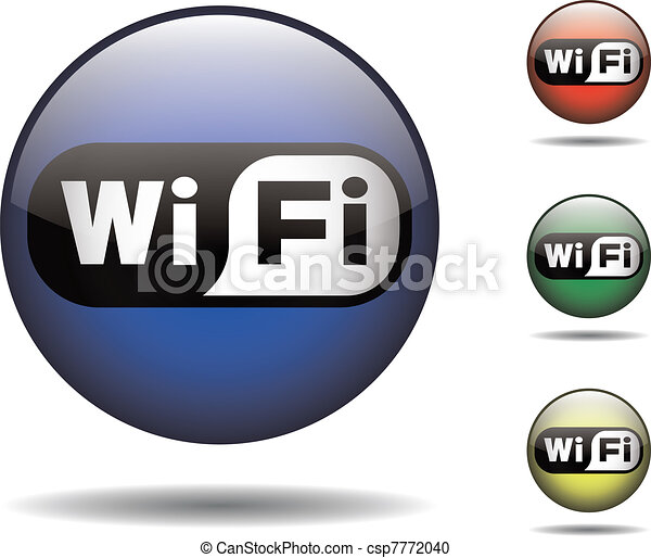 Wi-fi black and white rounded logo - csp7772040