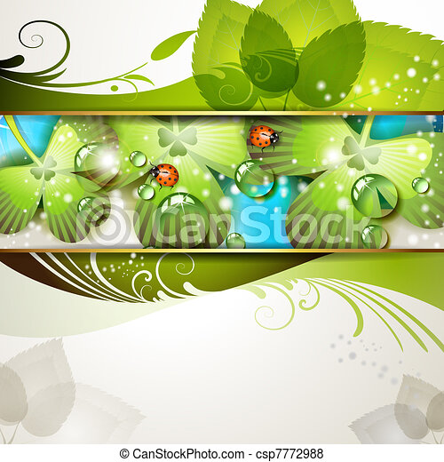 Green background with clover - csp7772988