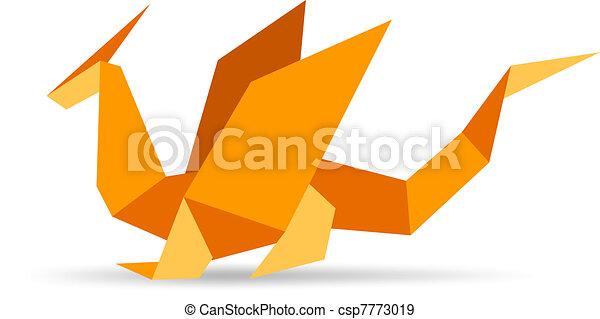 laranja, engraçado, elegante, origami, dragão - csp7773019