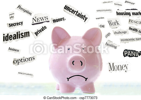 frowning pink piggy bank with bad economic news headlines - csp7773073