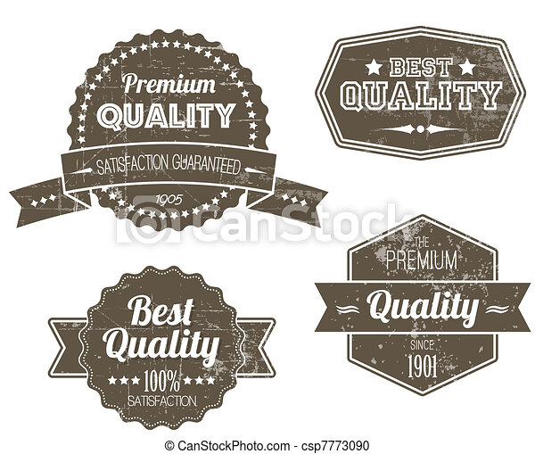 Old dark retro vintage grunge labels - csp7773090