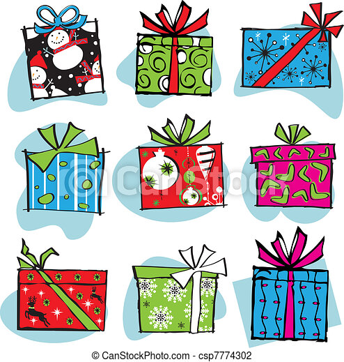Fun and Funky Retro Christmas boxes - csp7774302
