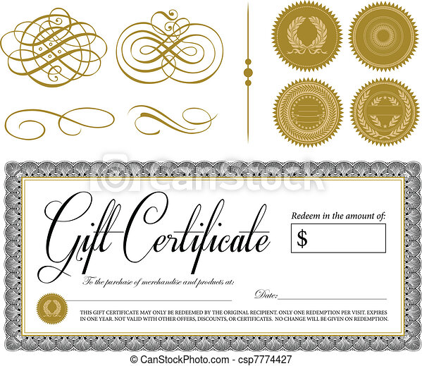 Vector Ornate Vintage Certificate and Ornaments - csp7774427