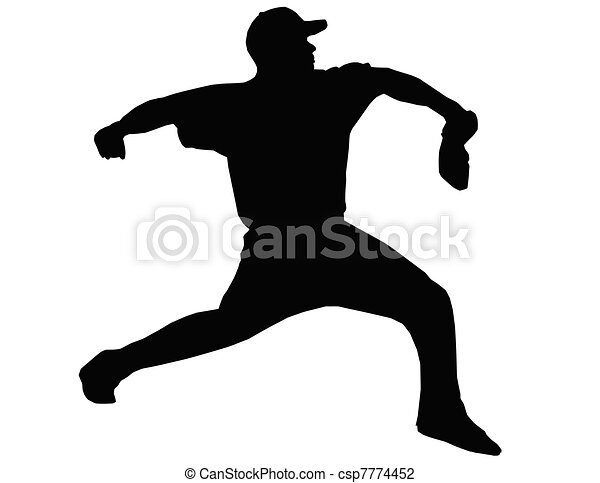 Baseball Pitcher Throwing Ball - csp7774452