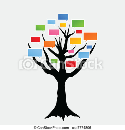 Clip Art Vector of Voice a tree - Speaking tree on a white ...