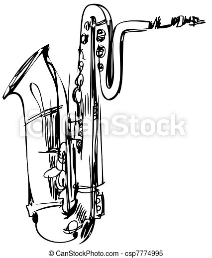 a brass musical instrument saxophone bass - csp7774995