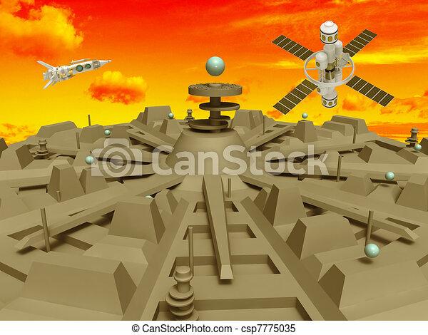 人工衛星, 都市, スペース. オレンジ, 都市, スタイル, 人工衛星 ...
