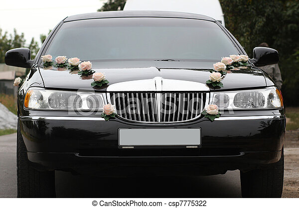 Decorated wedding limousine from the front - csp7775322