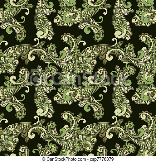 vector seamless paisley pattern in green - csp7776379
