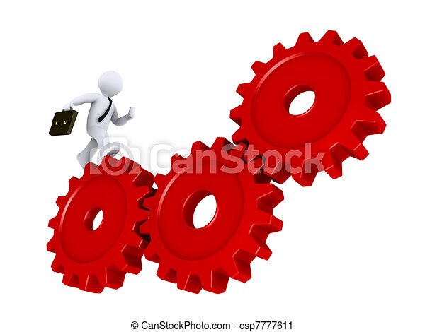 Businessman running on cogs - csp7777611