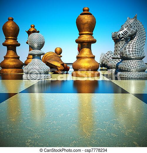 Chess battle -defeat - csp7778234