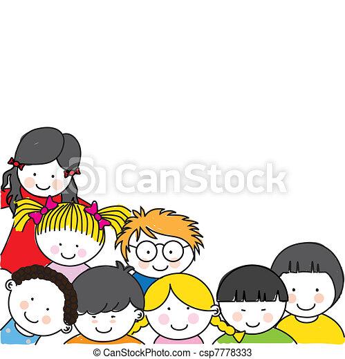 Cute cartoon kids frame  - csp7778333