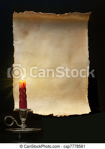 Vintage roll lit a candle - csp7778561