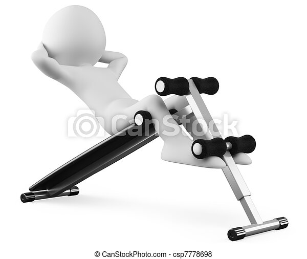 Athlete in a sit-ups bench - csp7778698