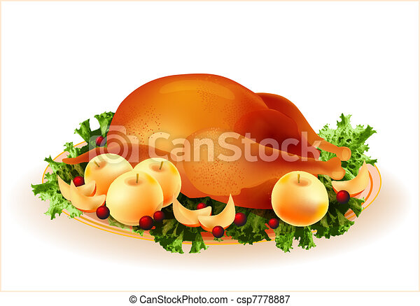 traditional roasted chicken with apples and cowberry - csp7778887