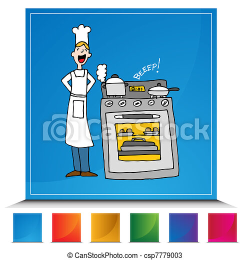 Chef Cooking Using A Timer Button Set - csp7779003
