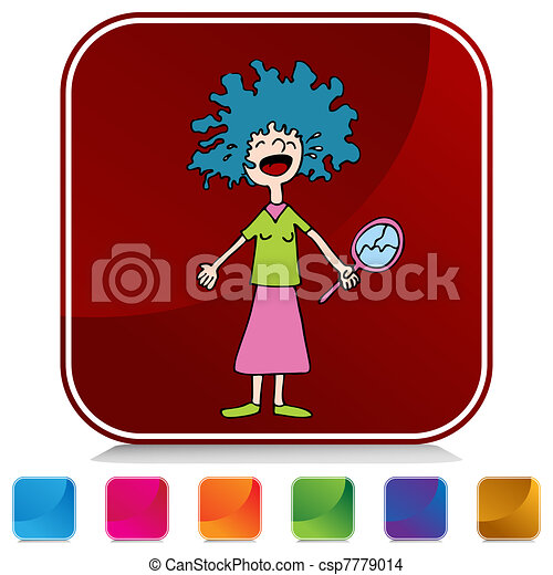 Crying Girl With Bad Perm Button Set - csp7779014