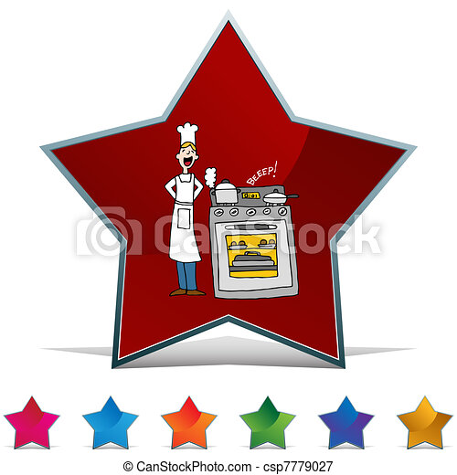 Chef Cooking Using A Timer Button Set - csp7779027