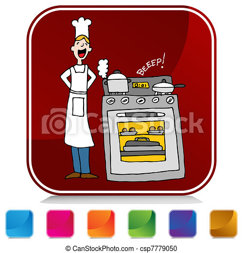 Chef Cooking Using A Timer Button Set - csp7779050