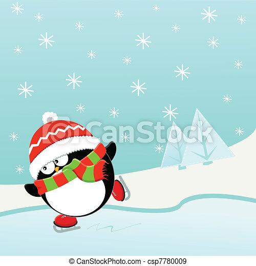 Ice Skating Penguin - csp7780009