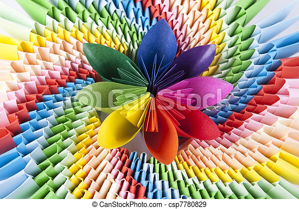 színes, virág, kusudama, fényes, moduláris, origami, szivárvány ...