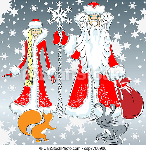 vector a happy Father Frost and Snow Maiden - csp7780906