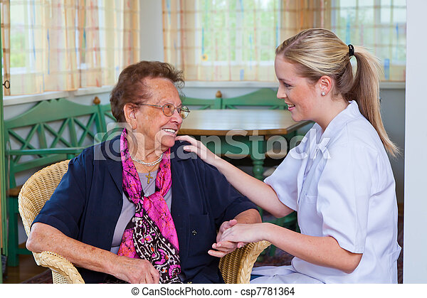 home care of old lady - csp7781364