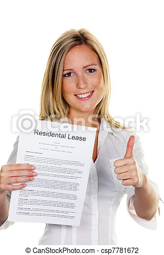 woman with a rental agreement in english - csp7781672