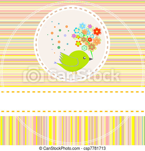 vector card with cute birds flowers - csp7781713