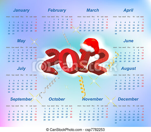 Vector Santa calendar 2012 year (week starts on Monday) - csp7782253
