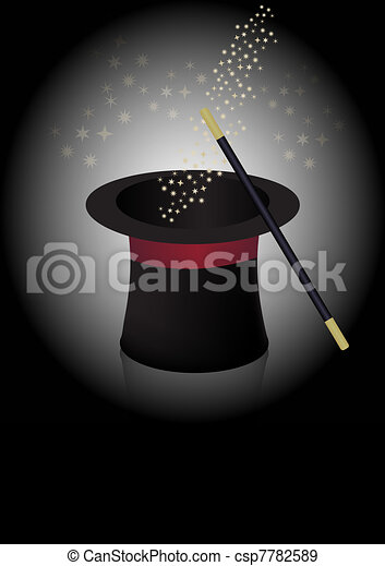 Magician hat and wand - csp7782589