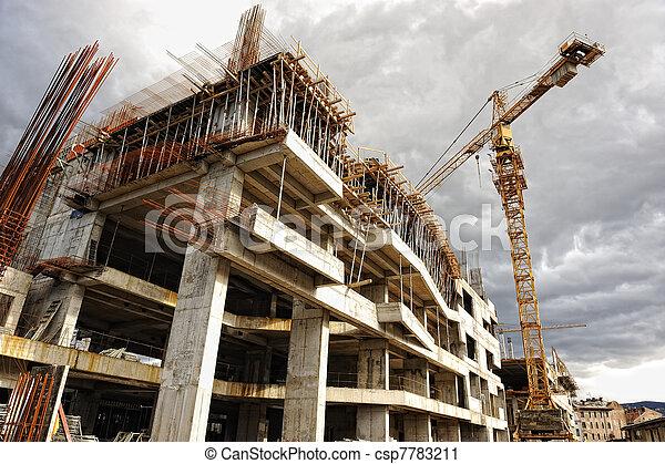 predios, guindaste, construção, local - csp7783211