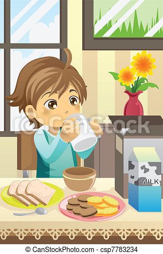 Boy eating breakfast - csp7783234