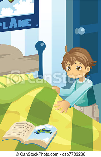 clip art vector of boy making his bed a vector