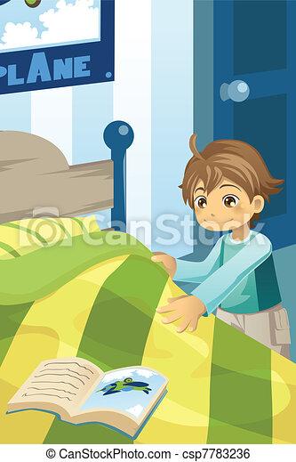 Boy making his bed - csp7783236