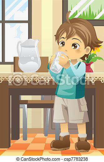 Boy drinking water - csp7783238