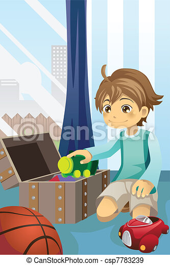 Boy cleaning up his toys - csp7783239