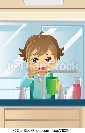 Boy brushing his teeth - csp7783241