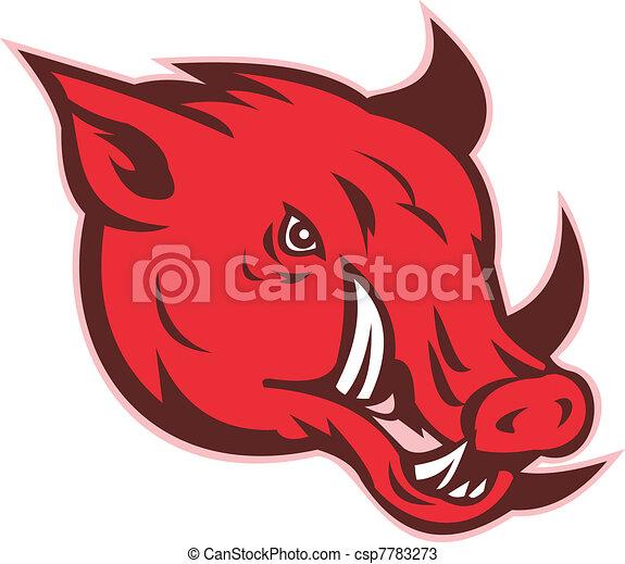 angry razorback wild pig hog boar head - csp7783273