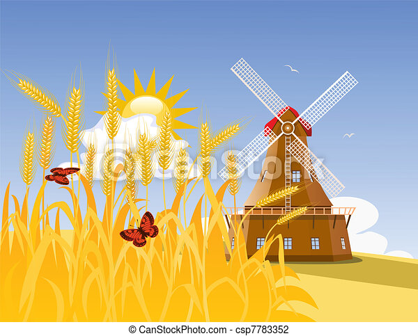 Wheat field and mill - csp7783352