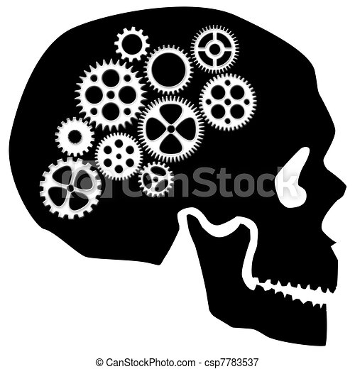 Skull with Gears Clipart - csp7783537