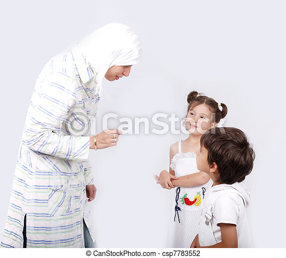 Muslim mother and her children  - csp7783552