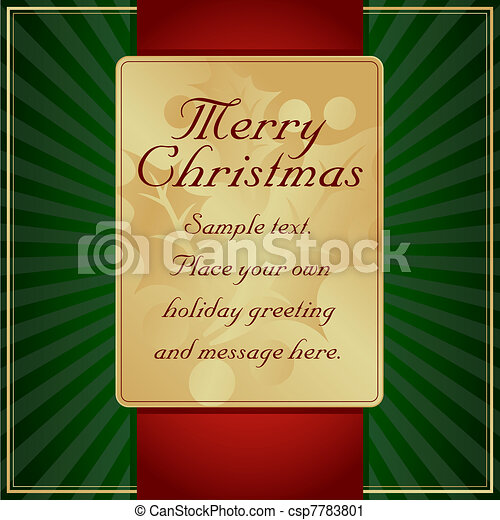 Exotic Green, Red and Gold Holly Adorned Gift Tag Vector - csp7783801