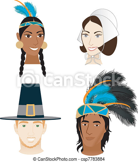 Indians and Pilgrims - csp7783884