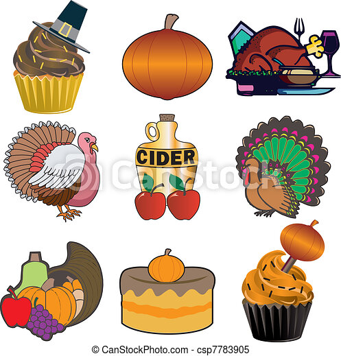 Thanksgiving Icons 3 - csp7783905