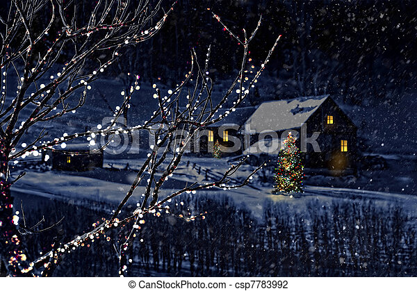 Snowy winter scene of a cabin in distance  - csp7783992