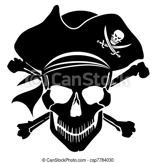 Pirate Skull Captain with Hat and Cross Bones - csp7784030