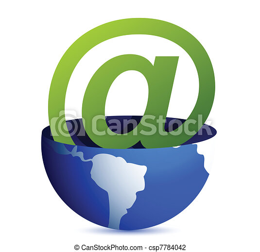 Email address icon inside a globe  - csp7784042