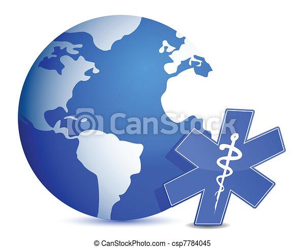 globe with medical symbol - csp7784045